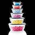 Tupperware Clear Collection 610 ml komplette Exclusiv Serie der Clear Collection aufeinander gestapelt