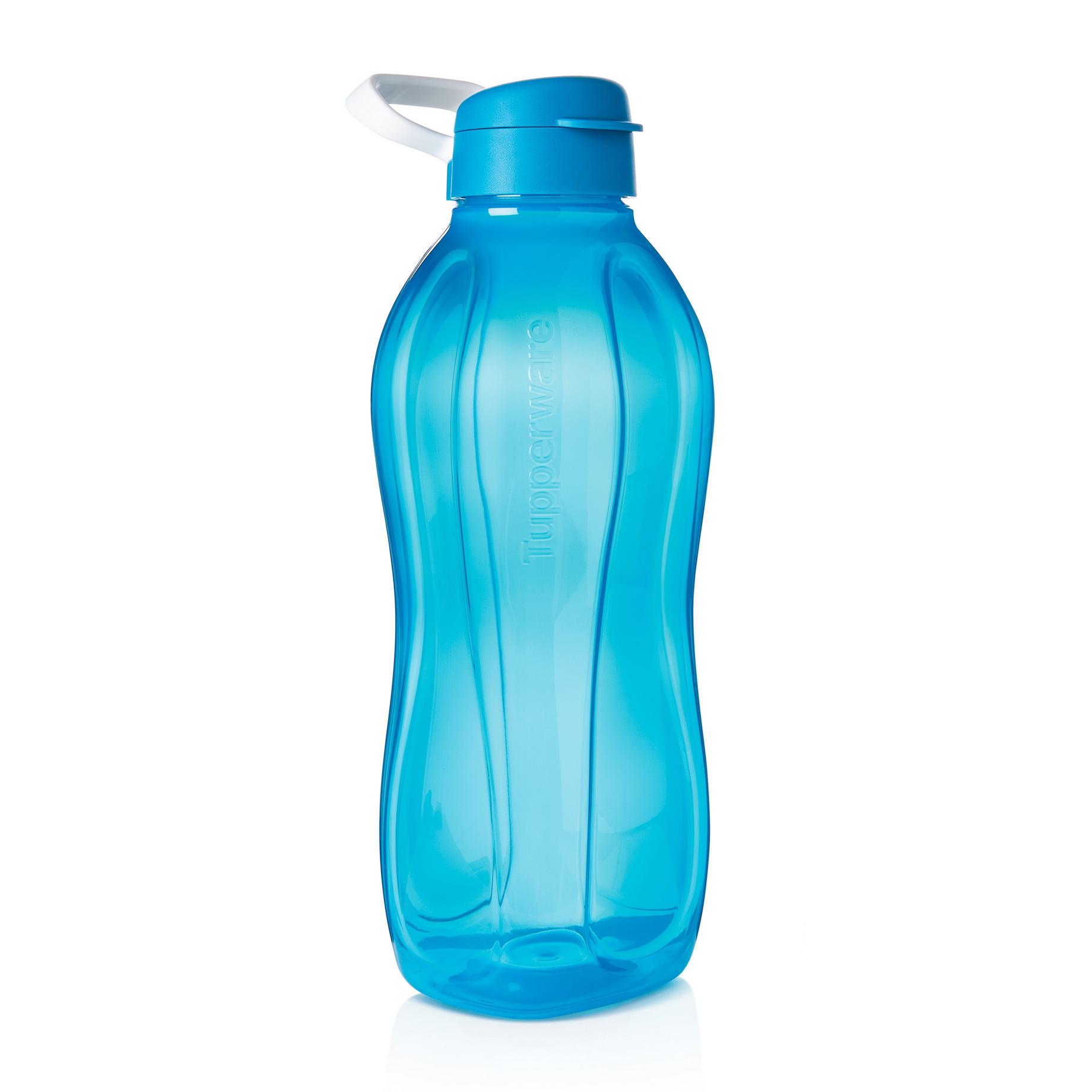 TUPPERWARE EcoEasy to go Trinkflasche 2x 2L Rot//Blau Clipverschluss und Henkel