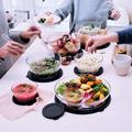 Tupperware Salatbesteck schönes durchsichtiges Schüsselset mit Salatbesteck