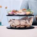 Tupperware Clear Collection 6,0 l Zwei durchsichtige Schüsseln gefüllt mit Salat und Brötchen