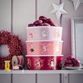 Tupperware Quadro Winter-Runde altrosa Weihnachtsdose für Plätzchen