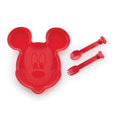 Tupperware Assiette Mickey + couverts Mickey Minnie