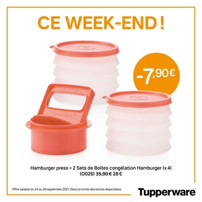 Tupperware Hamburger press + 2 Sets de Boîtes congélation Hamburger (x 4)